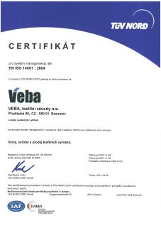 Certifikát EN ISO 14001